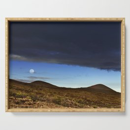 Moon Over The Slopes Of Mauna Kea Serving Tray