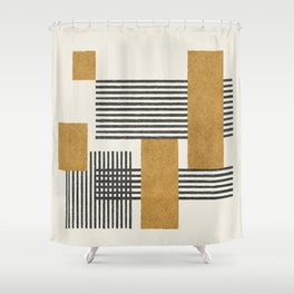 Stripes and Square Composition - Abstract Shower Curtain