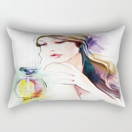 Watercolor Girl V4 Rectangular Pillow