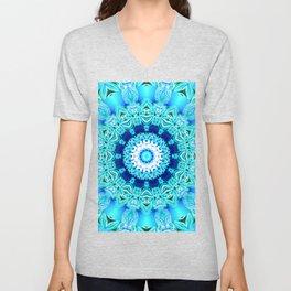 Blue Ice Glass Mandala, Abstract Aqua Lace Unisex V-Neck