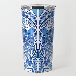 Folk Art Bird | Blue Bird | Scandinavian Folk Art | Nature Travel Mug