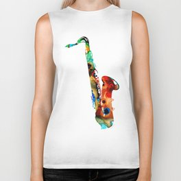Colorful Saxophone By Sharon Cummings Biker Tank