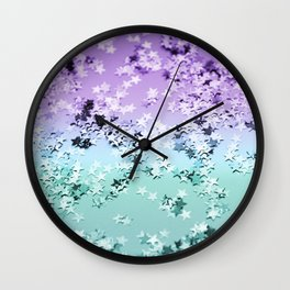 Mermaid Lady Glitter Stars #4 #shiny #decor #art #society6 Wall Clock