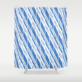 Candy Cane Blue Stripes Holiday Pattern Shower Curtain