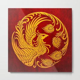 Traditional Yellow and Red Chinese Phoenix Circle Metal Print