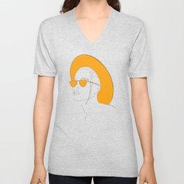 Yellow Hat Girl Unisex V-Neck