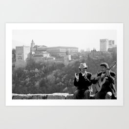 Busking under the Granada Sun Art Print
