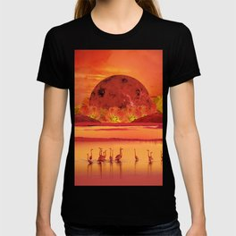 Flamingos sunset T-shirt
