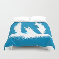 crocodile Duvet Covers featuring cornered! (bunny and crocodile) by Picomodi