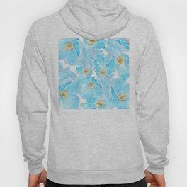 blue poppy pattern Hoody