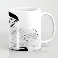 jewish Mugs featuring Adolf Hitler Jewish Tattoo by Jacinta Stokes