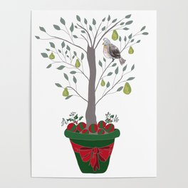12 Days of Christmas Partridge in a Pear Tree Poster