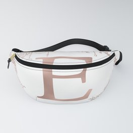 Letter E Rose Gold Pink Initial Monogram Fanny Pack