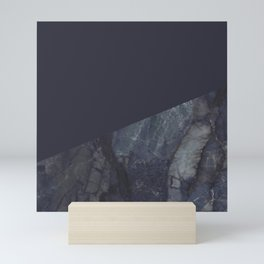 Marble Geometric Navy Blue Indigo Mini Art Print