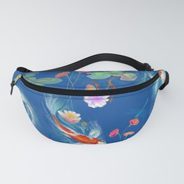 Blue Japanese Water Garden Fanny Pack