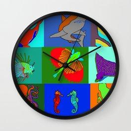Sea Animals pop art Wall Clock