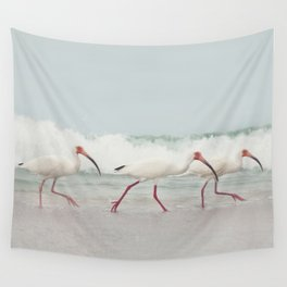 Three Little Ibis All in a Row Wall Tapestry