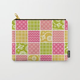 Zigzag, Polka Dots, Gingham - Green Pink Yellow Carry-All Pouch