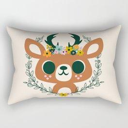 Deer with Flowers / Cute Animal Rectangular Pillow