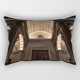 View from below of the main entrance of the Cathedral of Sant'Alessandro, the Cathedral of Bergamo A Rectangular Pillow