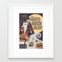 haunted mansion Framed Art Prints featuring Haunted Mansion Holiday by The Disneyland Minimalist