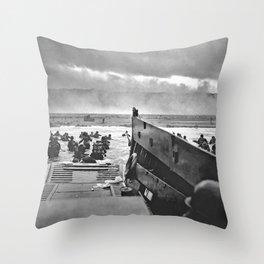 Omaha Beach Landing D Day Throw Pillow