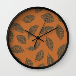 Falling leaves in rust and brown Wall Clock