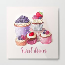 Sweet dream Cute cupcakes with berries Hand-drawn illustration Metal Print
