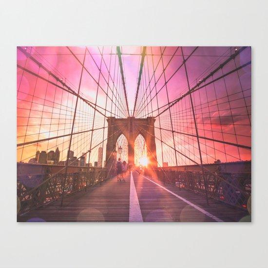 New York City Brooklyn Bridge Sunset Canvas Print