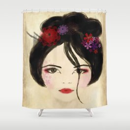 Beautiful geisha portrait art Shower Curtain
