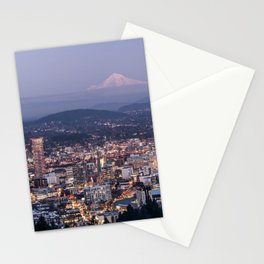 Portland Evening Urban Cityscape With Mt Hood Stationery Cards