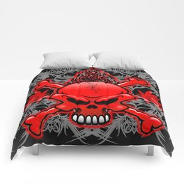 Red Fire Skull with Tribal Tattoos Comforters