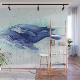 Humpback Whale Watercolor Mom and Baby Painting Whales Sea Creatures Wall Mural