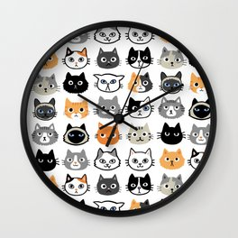 Cute Cats | Assorted Kitty Cat Faces | Fun Feline Drawings Wall Clock