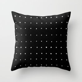 Dot Grid White on Black Throw Pillow
