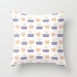 Hand drawn  lit candles on birthday cake with flower bouquet Throw Pillow
