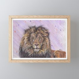 Male African Lion Framed Mini Art Print