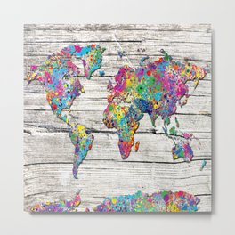 world map wood 4 Metal Print