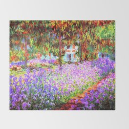 Monets Garden in Giverny Throw Blanket
