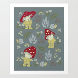 Melancholy Mushrooms Art Print