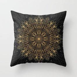 MANDALA IN BLACK AND GOLD Throw Pillow