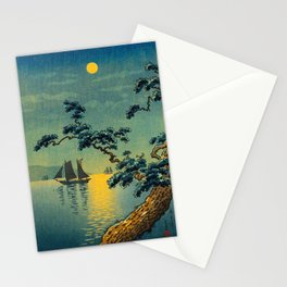 Tsuchiya Koitsu Maiko Seashore Japanese Woodblock Print Night Time Moon Over Ocean Sailboat Stationery Cards