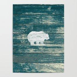 Rustic White Bear on Blue Wood Lodge Art A231b Poster