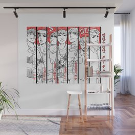 BTS - red, black & white Wall Mural