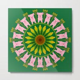 Pleasant Pig Mandala Design Metal Print