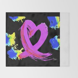 Pink Heart Ribbon (with Tie-Dye Blue-Yellow) for Breast Cancer Research by Jeffrey G. Rosenberg Throw Blanket