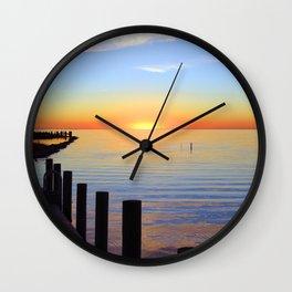 Ocracoke Pamlico Sound Sunset 2015 Wall Clock