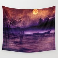 trip Wall Tapestries featuring purple trip by Viviana Gonzalez