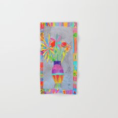 Flower Vase | Kids Painting | 3D Collage Hand & Bath Towel