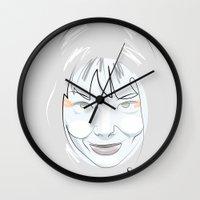 bjork Wall Clocks featuring Portrait: Bjork by quibe